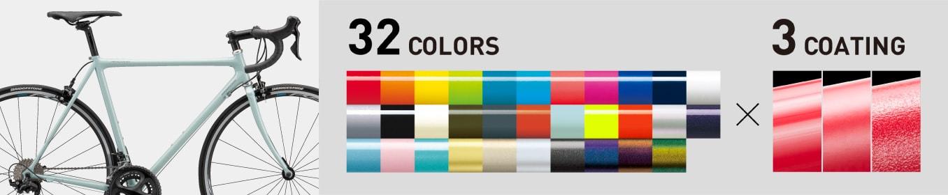 32色の単色フレームカラー、3種の表面仕上げから、一部を除き+0円で選べます。