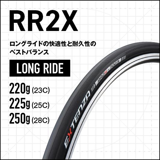RR2X - ロングライドの快適性と耐久性のベストバランス、LONG RIDE、220g(23C) 230g(25C)